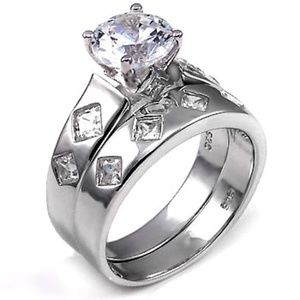 2ct Solitaire Round cut  Engagement / Wedding Set